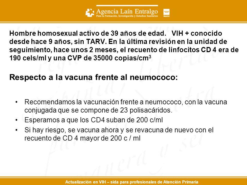 Actualización en VIH – sida para profesionales de Atención Primaria Hombre homosexual activo de 39 años de edad. VIH + conocido desde hace 9 años, sin