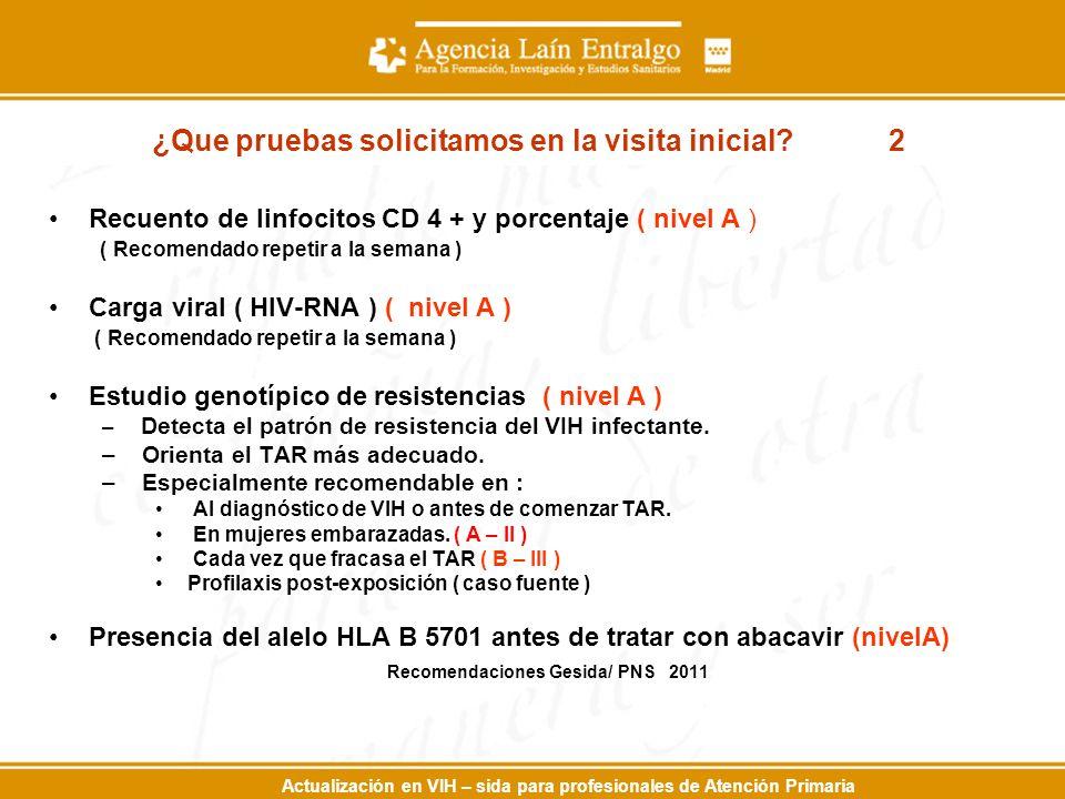Actualización en VIH – sida para profesionales de Atención Primaria Recuento de linfocitos CD 4 + y porcentaje ( nivel A ) ( Recomendado repetir a la semana ) Carga viral ( HIV-RNA ) ( nivel A ) ( Recomendado repetir a la semana ) Estudio genotípico de resistencias ( nivel A ) – Detecta el patrón de resistencia del VIH infectante.