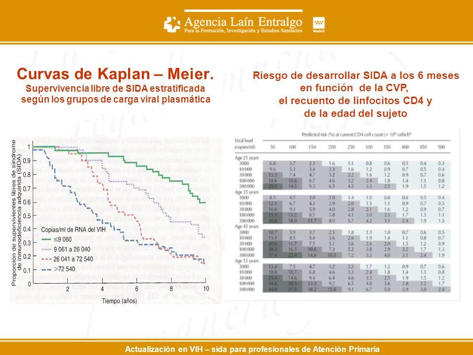 Actualización en VIH – sida para profesionales de Atención Primaria Curvas de Kaplan – Meier. Supervivencia libre de SIDA estratificada según los grup