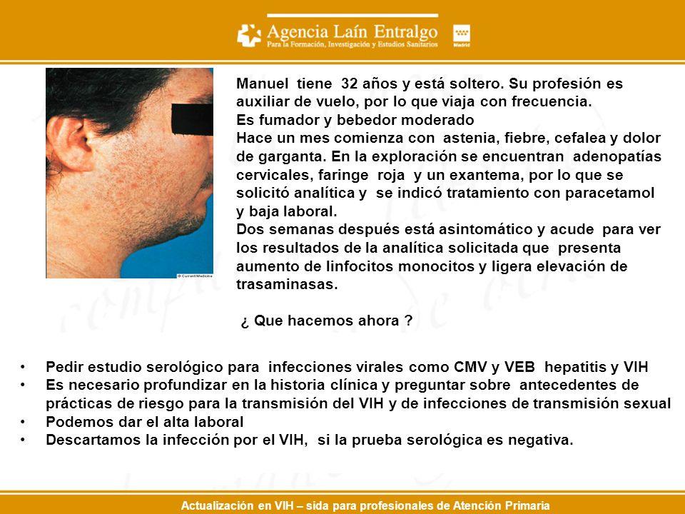 Actualización en VIH – sida para profesionales de Atención Primaria Manuel tiene 32 años y está soltero.