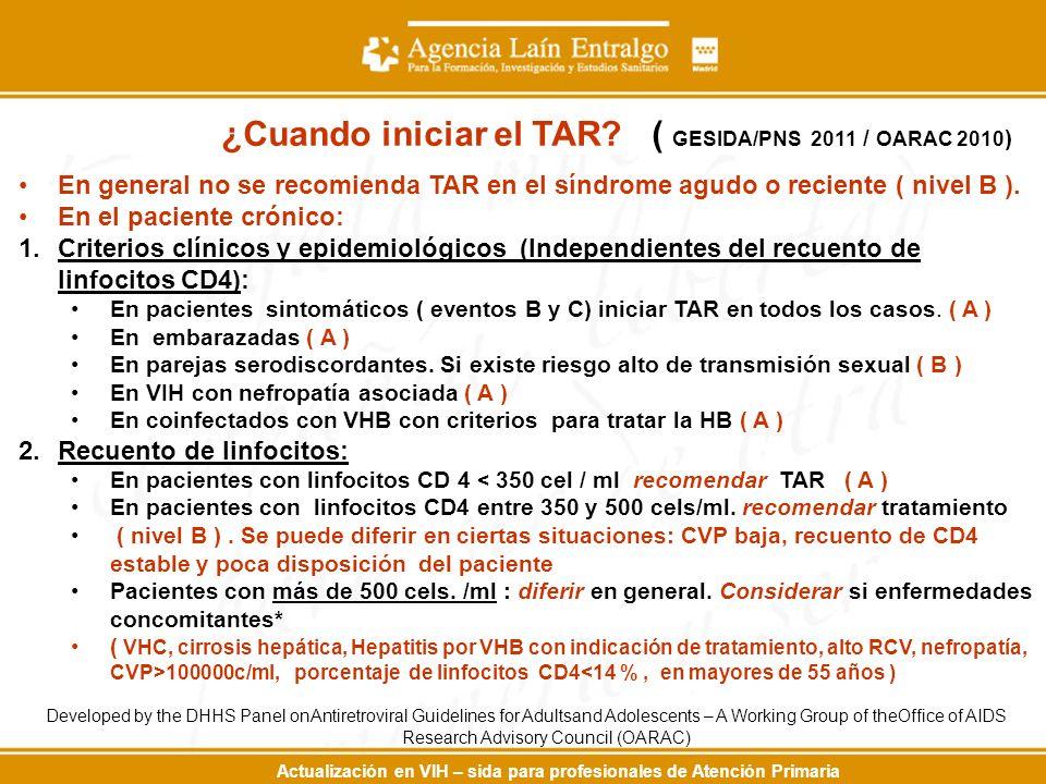 Actualización en VIH – sida para profesionales de Atención Primaria En general no se recomienda TAR en el síndrome agudo o reciente ( nivel B ). En el