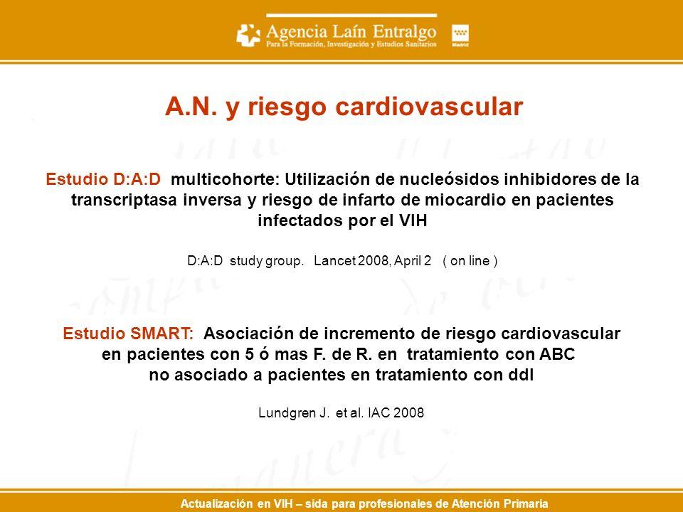 Actualización en VIH – sida para profesionales de Atención Primaria Estudio D:A:D multicohorte: Utilización de nucleósidos inhibidores de la transcriptasa inversa y riesgo de infarto de miocardio en pacientes infectados por el VIH D:A:D study group.