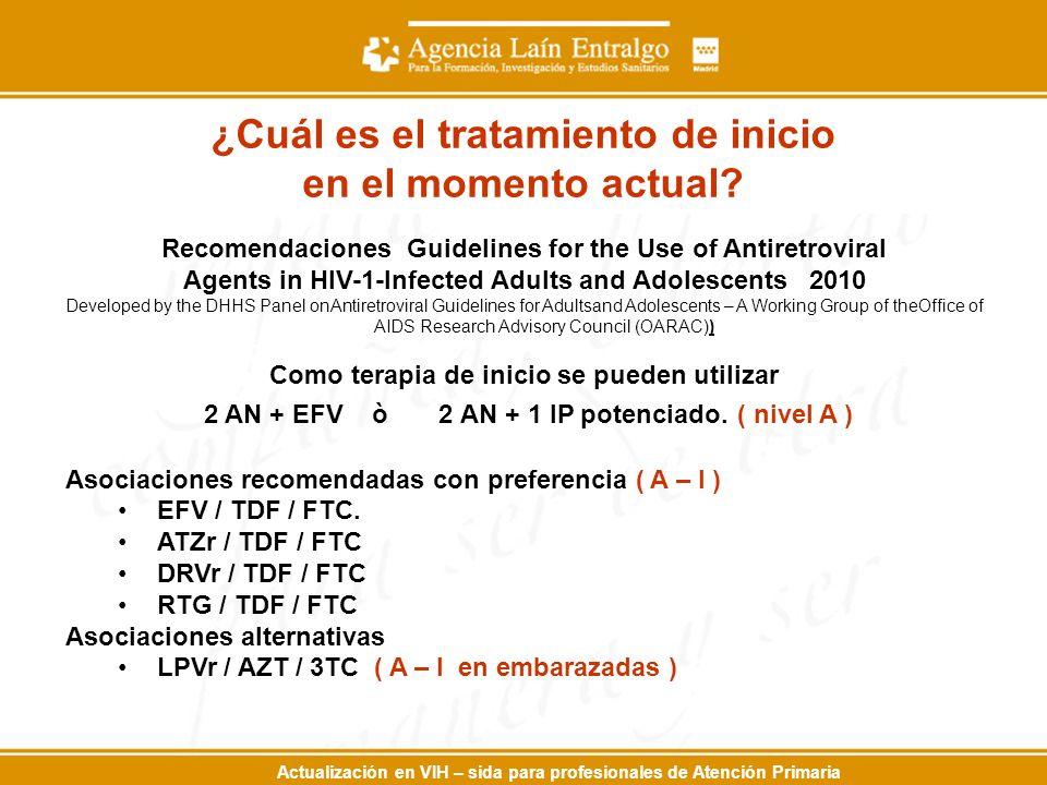 Actualización en VIH – sida para profesionales de Atención Primaria Recomendaciones Guidelines for the Use of Antiretroviral Agents in HIV-1-Infected