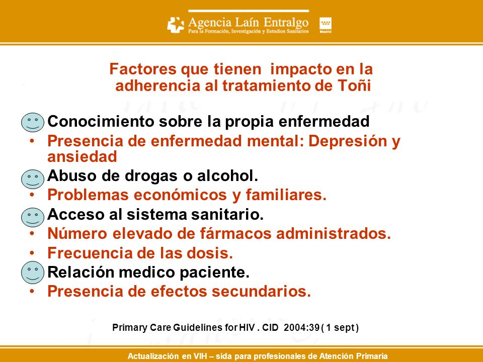 Actualización en VIH – sida para profesionales de Atención Primaria Factores que tienen impacto en la adherencia al tratamiento de Toñi Conocimiento s