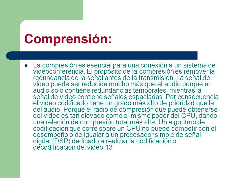 Comprensión: La compresión es esencial para una conexión a un sistema de videoconferencia. El propósito de la compresión es remover la redundancia de