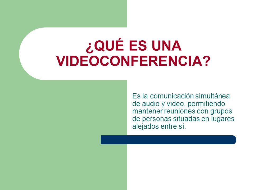 ¿QUÉ ES UNA VIDEOCONFERENCIA? Es la comunicación simultánea de audio y video, permitiendo mantener reuniones con grupos de personas situadas en lugare