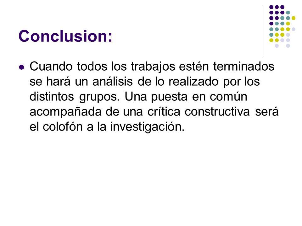 Conclusion: Cuando todos los trabajos estén terminados se hará un análisis de lo realizado por los distintos grupos. Una puesta en común acompañada de