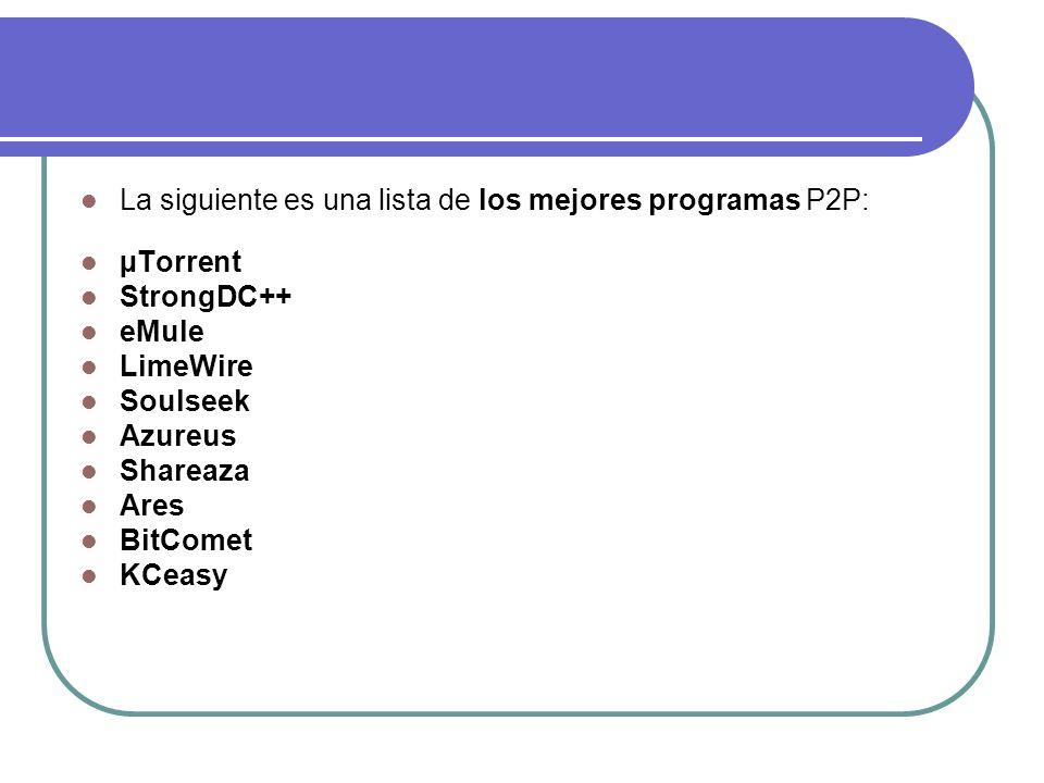 La siguiente es una lista de los mejores programas P2P: µTorrent StrongDC++ eMule LimeWire Soulseek Azureus Shareaza Ares BitComet KCeasy