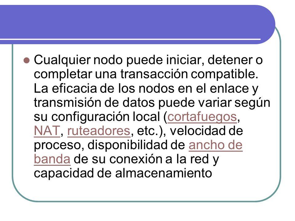 Cualquier nodo puede iniciar, detener o completar una transacción compatible. La eficacia de los nodos en el enlace y transmisión de datos puede varia