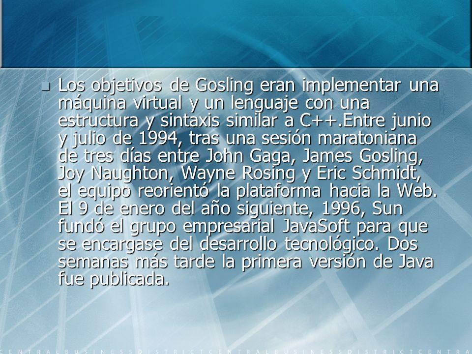 Los objetivos de Gosling eran implementar una máquina virtual y un lenguaje con una estructura y sintaxis similar a C++.Entre junio y julio de 1994, t