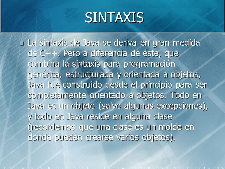 SINTAXIS La sintaxis de Java se deriva en gran medida de C++. Pero a diferencia de éste, que combina la sintaxis para programación genérica, estructur