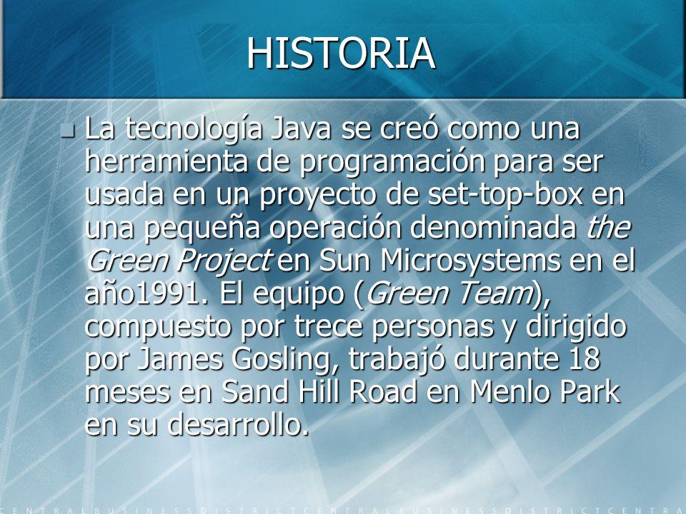 HISTORIA La tecnología Java se creó como una herramienta de programación para ser usada en un proyecto de set-top-box en una pequeña operación denomin