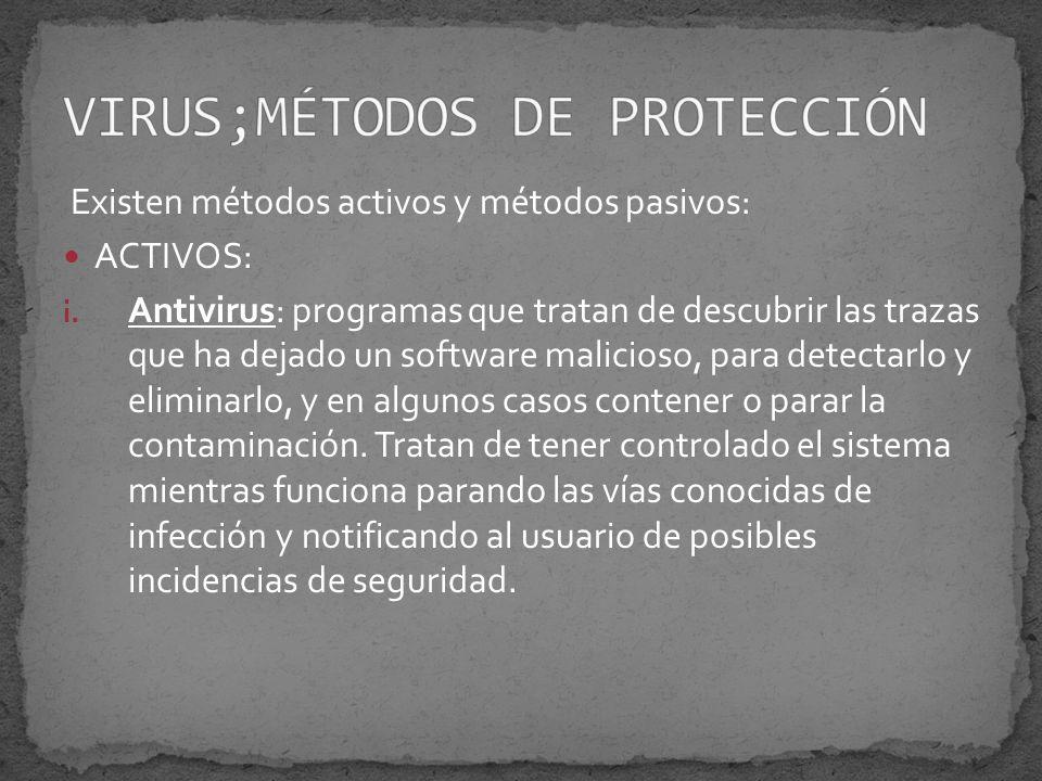 Existen métodos activos y métodos pasivos: ACTIVOS: i.