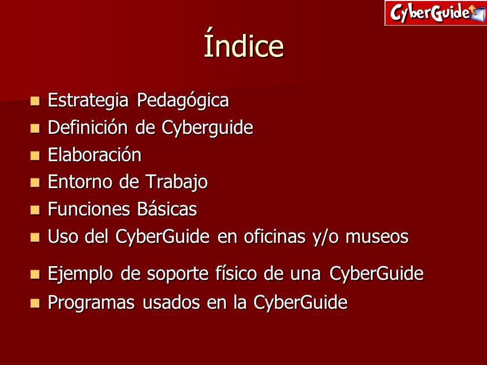 Índice Estrategia Pedagógica Estrategia Pedagógica Definición de Cyberguide Definición de Cyberguide Elaboración Elaboración Entorno de Trabajo Entorn