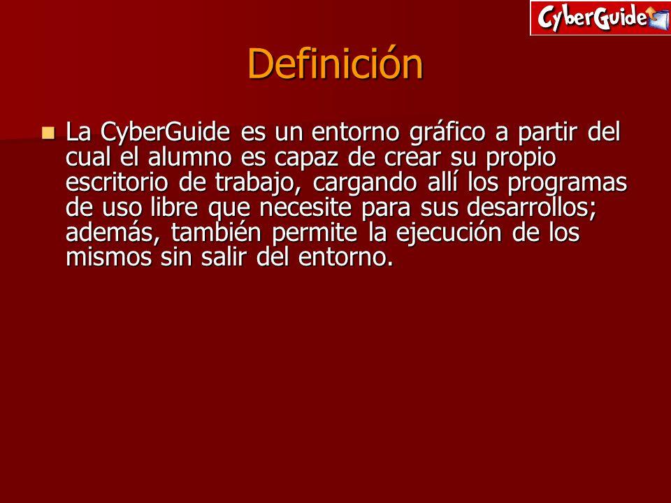 Definición La CyberGuide es un entorno gráfico a partir del cual el alumno es capaz de crear su propio escritorio de trabajo, cargando allí los progra