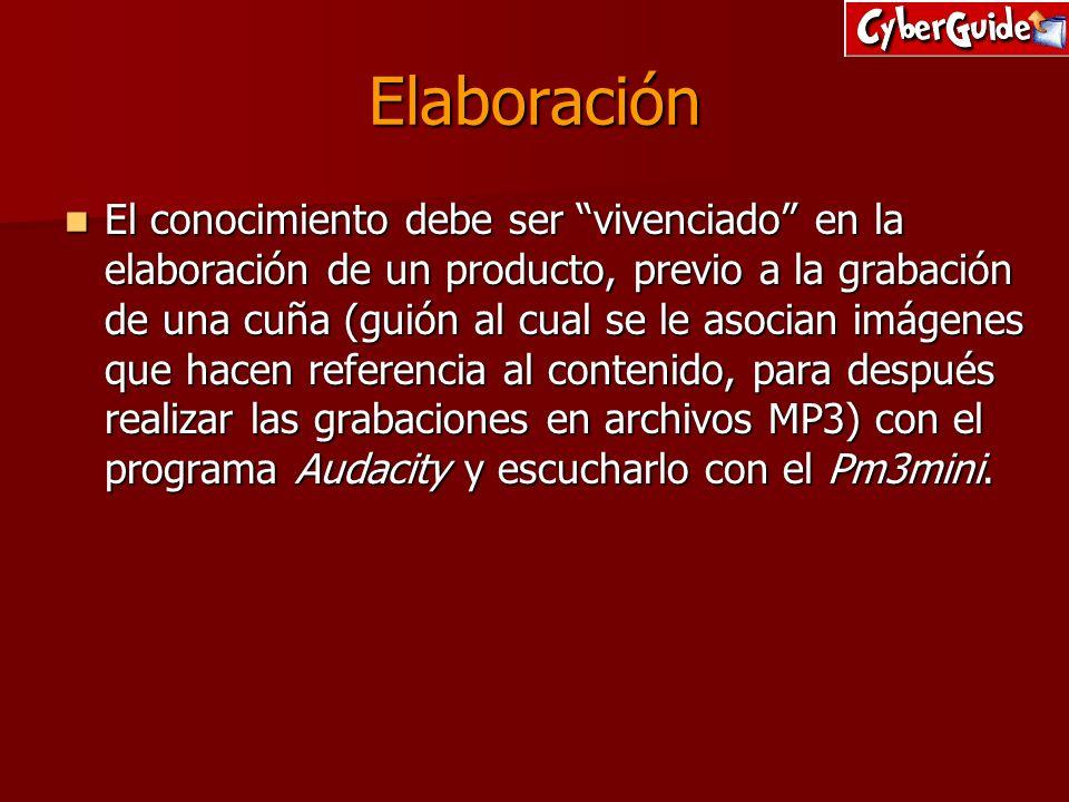 Elaboración El conocimiento debe ser vivenciado en la elaboración de un producto, previo a la grabación de una cuña (guión al cual se le asocian imáge
