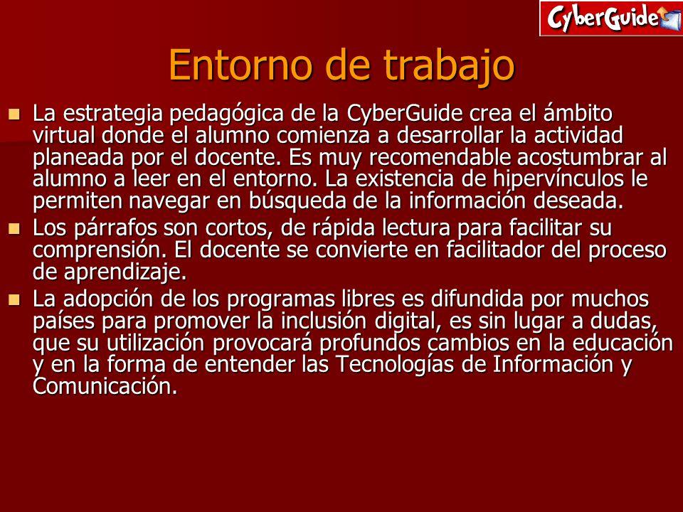 Entorno de trabajo La estrategia pedagógica de la CyberGuide crea el ámbito virtual donde el alumno comienza a desarrollar la actividad planeada por e