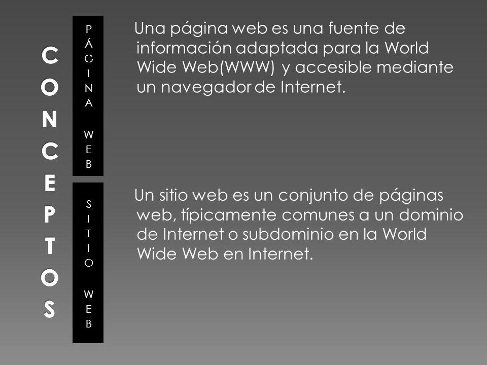 La información de una página web se presenta generalmente en formato HTML y puede contener hiperenlaces a otras páginas web, constituyendo la red enlazada de la World Wide Web.