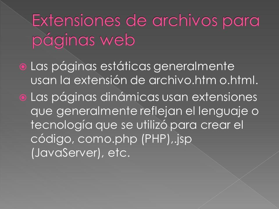 Las páginas estáticas generalmente usan la extensión de archivo.htm o.html.