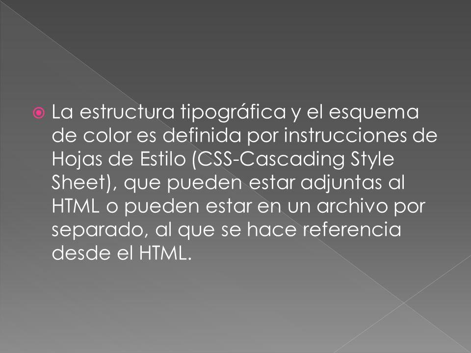 La estructura tipográfica y el esquema de color es definida por instrucciones de Hojas de Estilo (CSS-Cascading Style Sheet), que pueden estar adjuntas al HTML o pueden estar en un archivo por separado, al que se hace referencia desde el HTML.