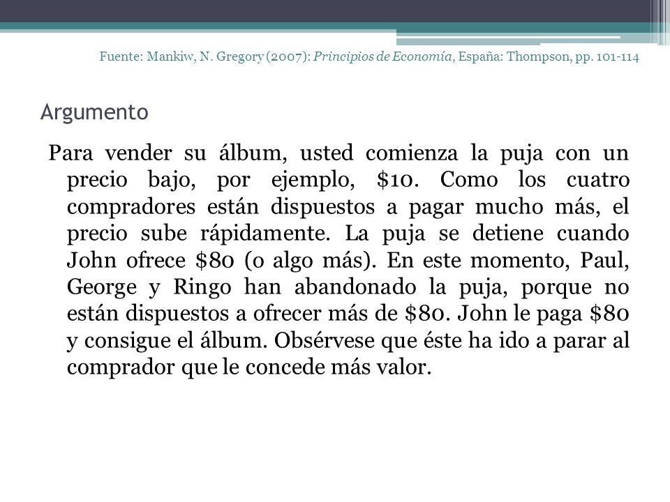 Argumento Fuente: Mankiw, N. Gregory (2007): Principios de Economía, España: Thompson, pp.