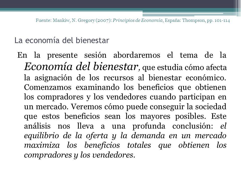 La economía del bienestar Fuente: Mankiw, N.