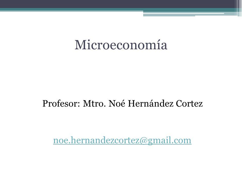 Microeconomía Profesor: Mtro. Noé Hernández Cortez noe.hernandezcortez@gmail.com