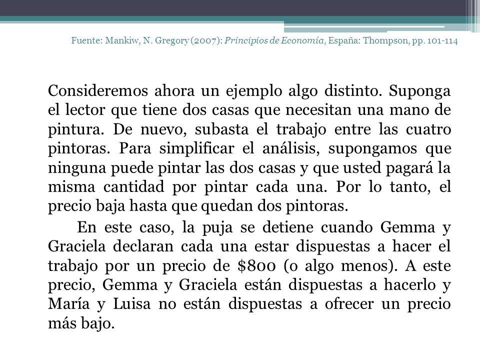 Fuente: Mankiw, N. Gregory (2007): Principios de Economía, España: Thompson, pp. 101-114 Consideremos ahora un ejemplo algo distinto. Suponga el lecto