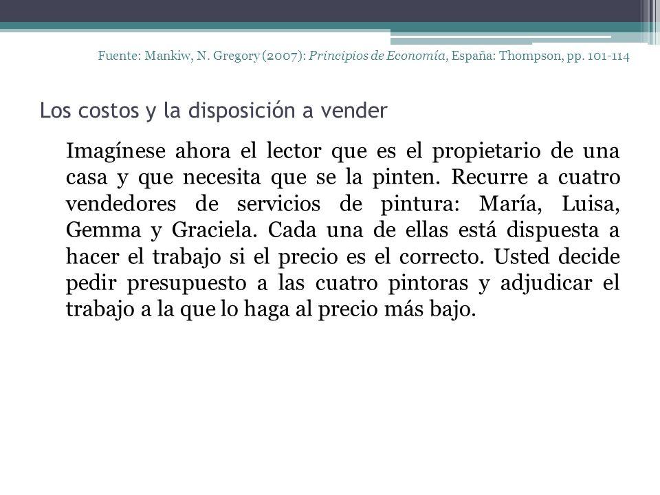 Los costos y la disposición a vender Fuente: Mankiw, N. Gregory (2007): Principios de Economía, España: Thompson, pp. 101-114 Imagínese ahora el lecto