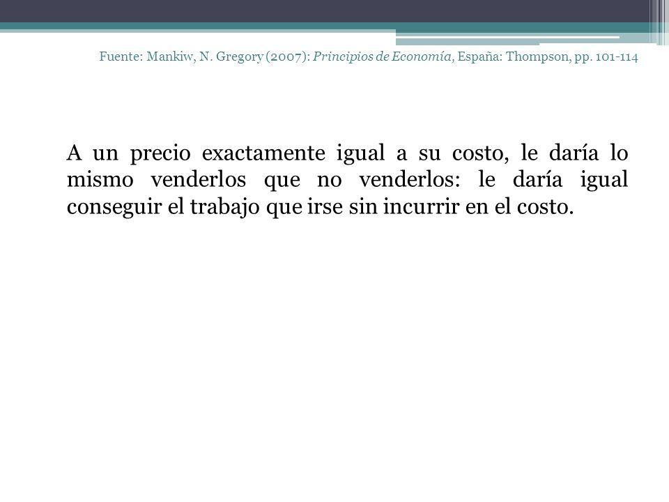 Fuente: Mankiw, N. Gregory (2007): Principios de Economía, España: Thompson, pp. 101-114 A un precio exactamente igual a su costo, le daría lo mismo v