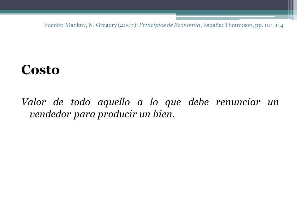 Fuente: Mankiw, N. Gregory (2007): Principios de Economía, España: Thompson, pp. 101-114 Costo Valor de todo aquello a lo que debe renunciar un vended