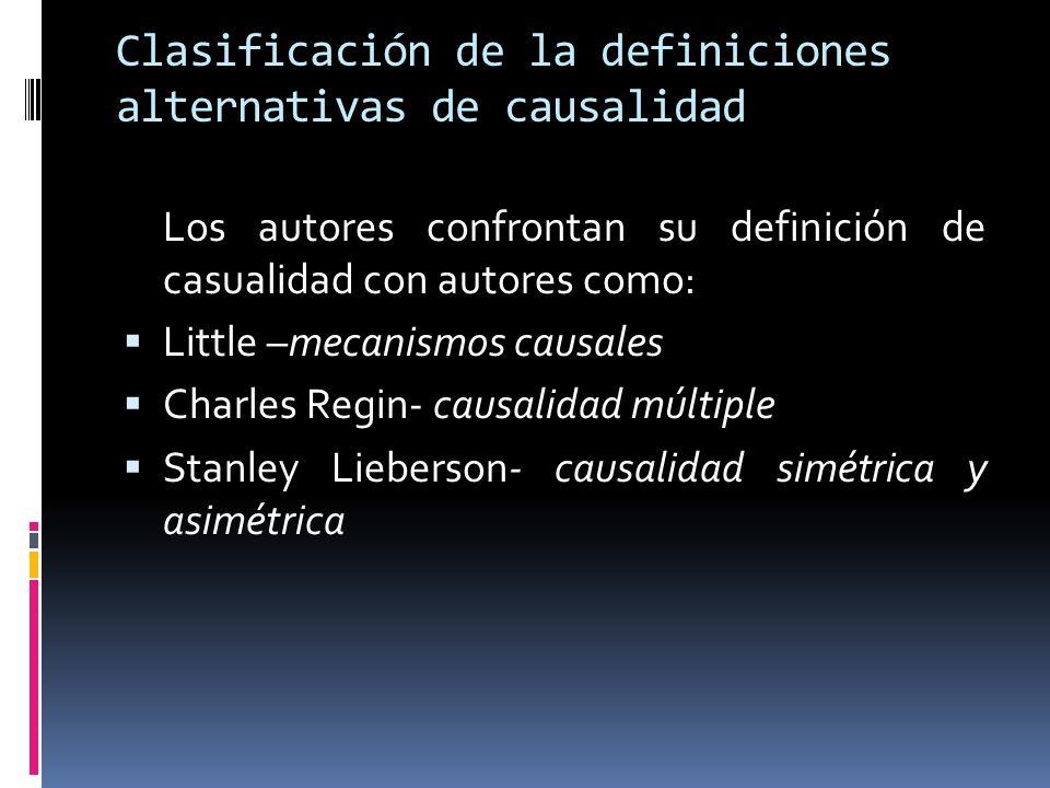 Clasificación de la definiciones alternativas de causalidad Los autores confrontan su definición de casualidad con autores como: Little –mecanismos causales Charles Regin- causalidad múltiple Stanley Lieberson- causalidad simétrica y asimétrica