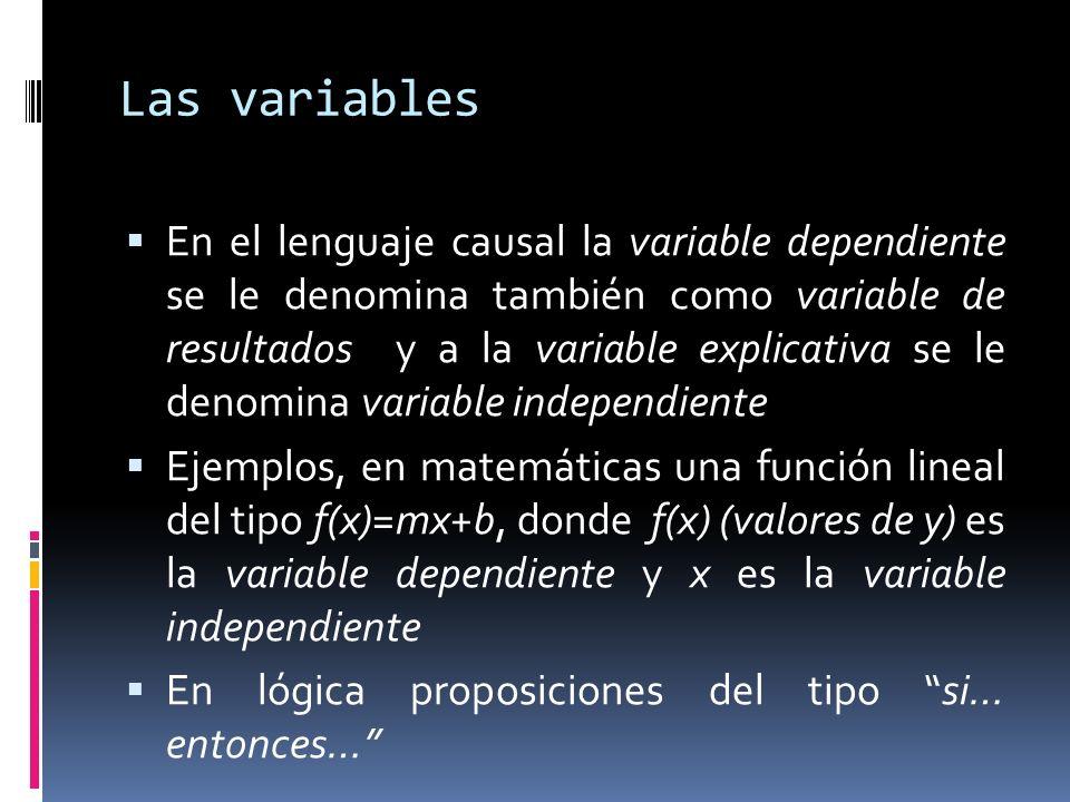 Las variables En el lenguaje causal la variable dependiente se le denomina también como variable de resultados y a la variable explicativa se le denomina variable independiente Ejemplos, en matemáticas una función lineal del tipo f(x)=mx+b, donde f(x) (valores de y) es la variable dependiente y x es la variable independiente En lógica proposiciones del tipo si… entonces…