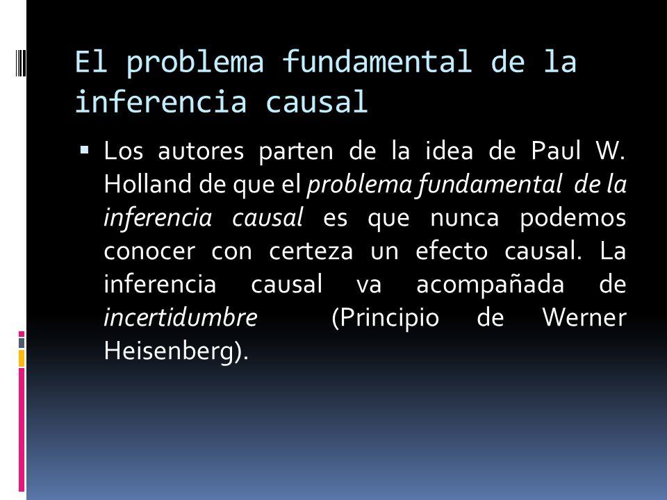 El problema fundamental de la inferencia causal Los autores parten de la idea de Paul W. Holland de que el problema fundamental de la inferencia causa