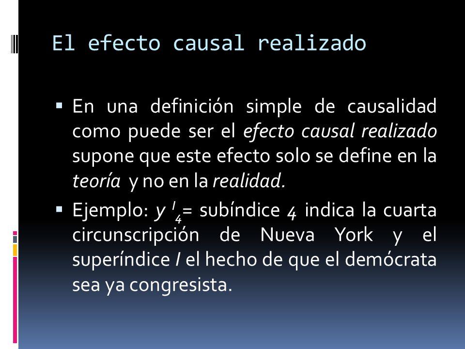 El efecto causal realizado En una definición simple de causalidad como puede ser el efecto causal realizado supone que este efecto solo se define en la teoría y no en la realidad.