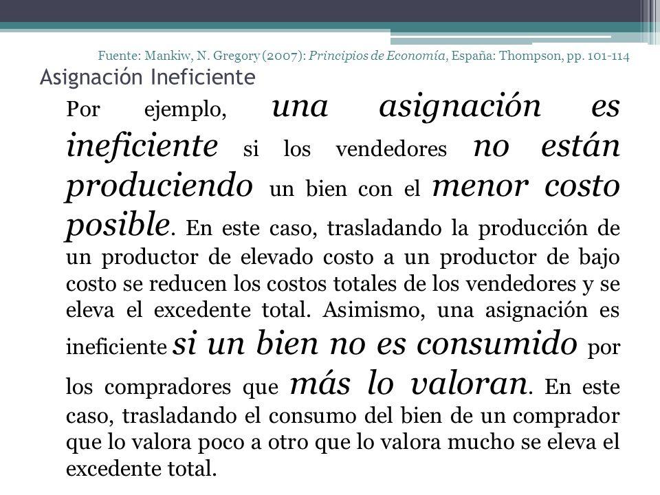 Asignación Ineficiente Fuente: Mankiw, N. Gregory (2007): Principios de Economía, España: Thompson, pp. 101-114 Por ejemplo, una asignación es inefici