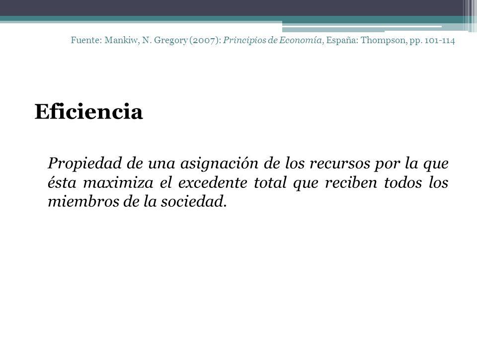 Fuente: Mankiw, N. Gregory (2007): Principios de Economía, España: Thompson, pp. 101-114 Eficiencia Propiedad de una asignación de los recursos por la