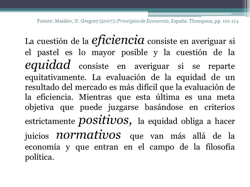Fuente: Mankiw, N. Gregory (2007): Principios de Economía, España: Thompson, pp. 101-114 La cuestión de la eficiencia consiste en averiguar si el past