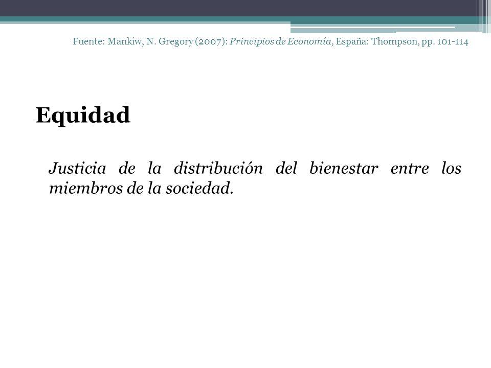 Fuente: Mankiw, N. Gregory (2007): Principios de Economía, España: Thompson, pp. 101-114 Equidad Justicia de la distribución del bienestar entre los m