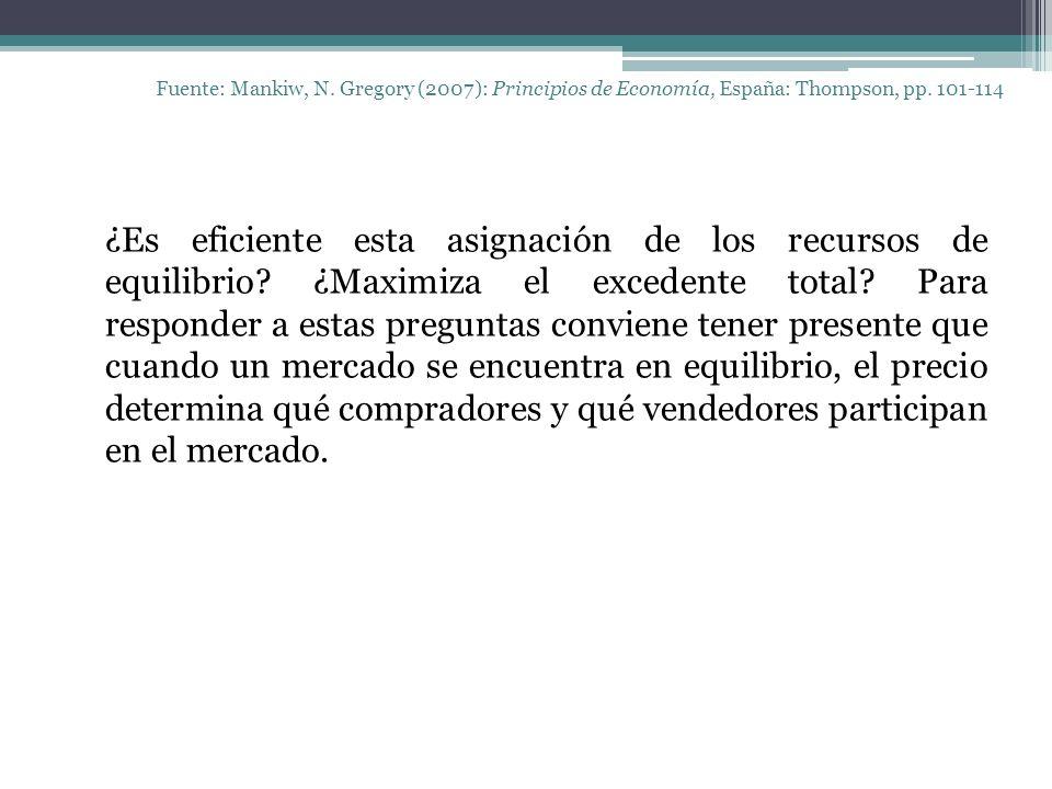 Fuente: Mankiw, N. Gregory (2007): Principios de Economía, España: Thompson, pp. 101-114 ¿Es eficiente esta asignación de los recursos de equilibrio?