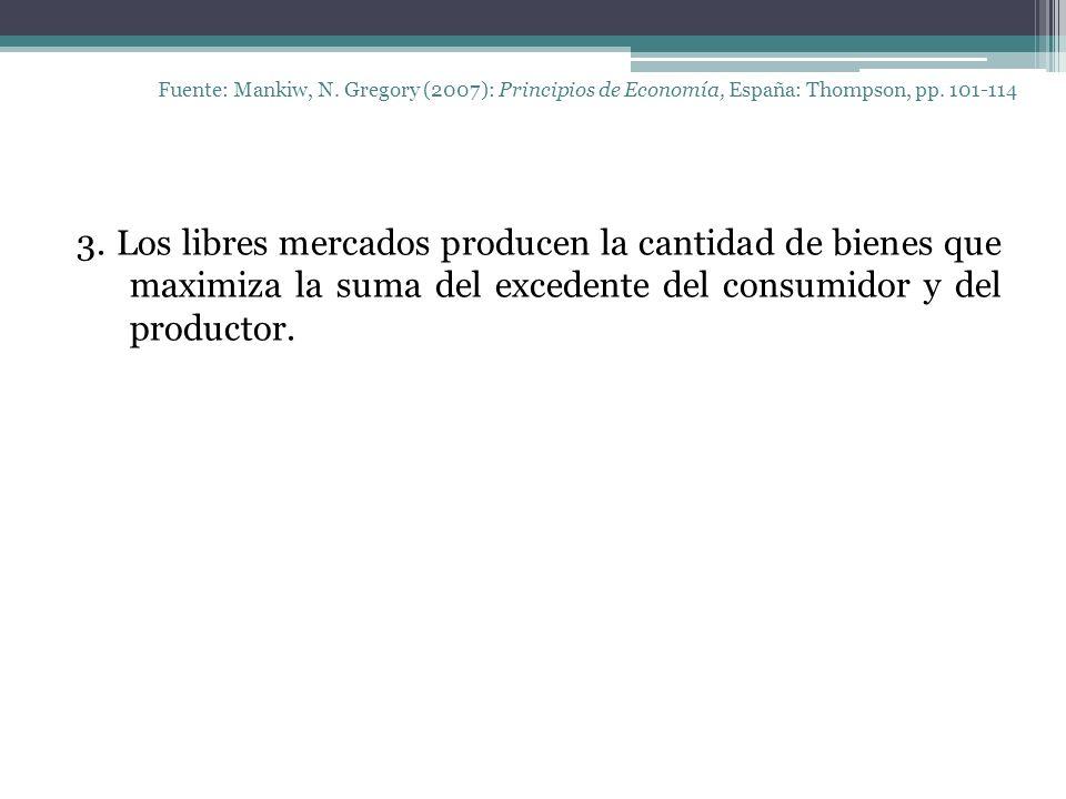Fuente: Mankiw, N. Gregory (2007): Principios de Economía, España: Thompson, pp. 101-114 3. Los libres mercados producen la cantidad de bienes que max