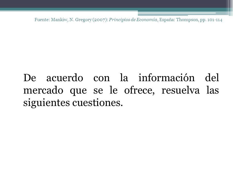 Fuente: Mankiw, N. Gregory (2007): Principios de Economía, España: Thompson, pp. 101-114 De acuerdo con la información del mercado que se le ofrece, r