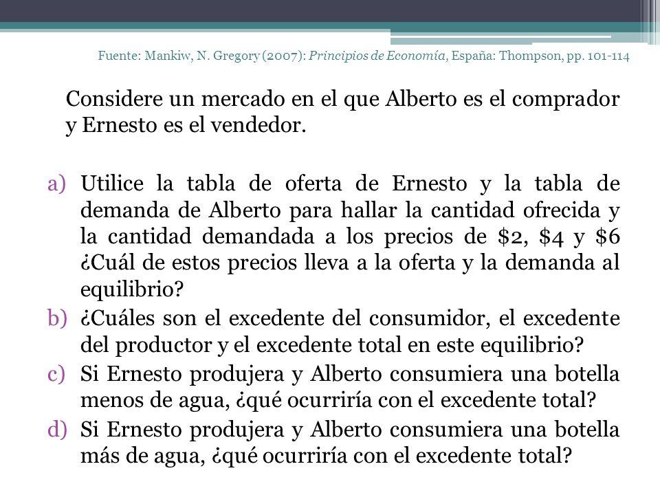 Fuente: Mankiw, N. Gregory (2007): Principios de Economía, España: Thompson, pp. 101-114 Considere un mercado en el que Alberto es el comprador y Erne