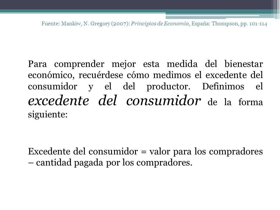 Fuente: Mankiw, N. Gregory (2007): Principios de Economía, España: Thompson, pp. 101-114 Para comprender mejor esta medida del bienestar económico, re