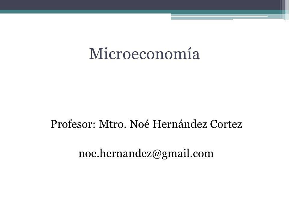 Microeconomía Profesor: Mtro. Noé Hernández Cortez noe.hernandez@gmail.com