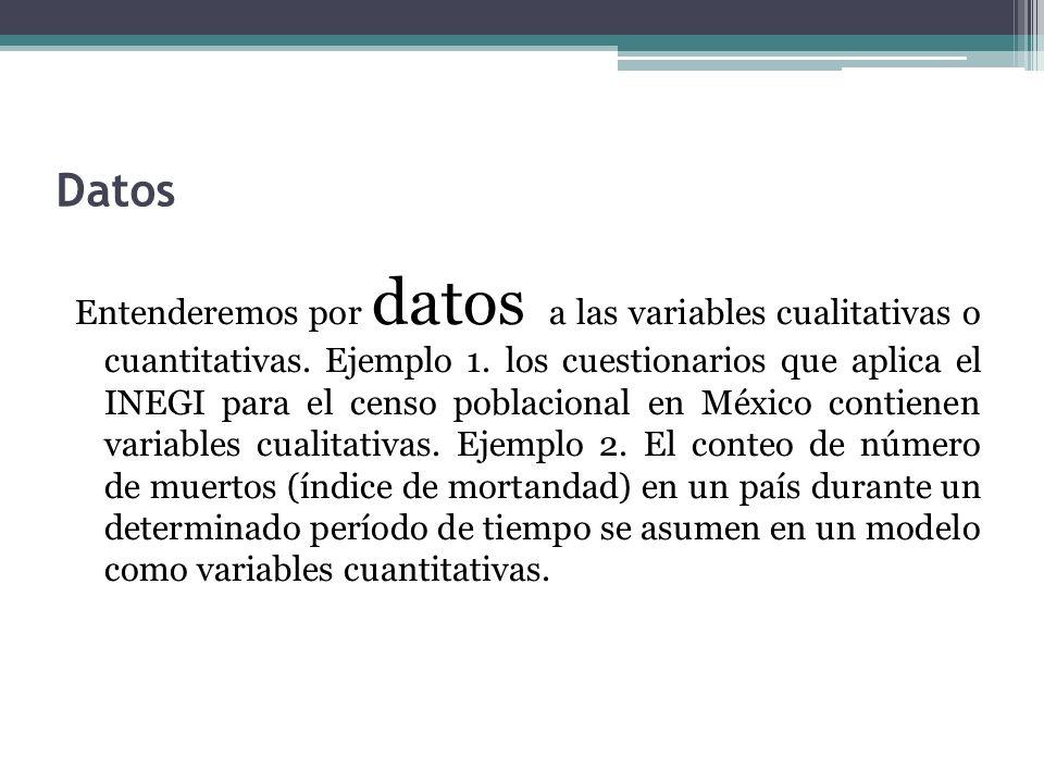 Datos Entenderemos por datos a las variables cualitativas o cuantitativas. Ejemplo 1. los cuestionarios que aplica el INEGI para el censo poblacional