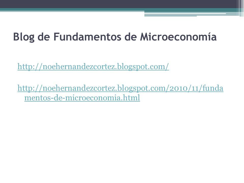 Blog de Fundamentos de Microeconomía http://noehernandezcortez.blogspot.com/ http://noehernandezcortez.blogspot.com/2010/11/funda mentos-de-microecono