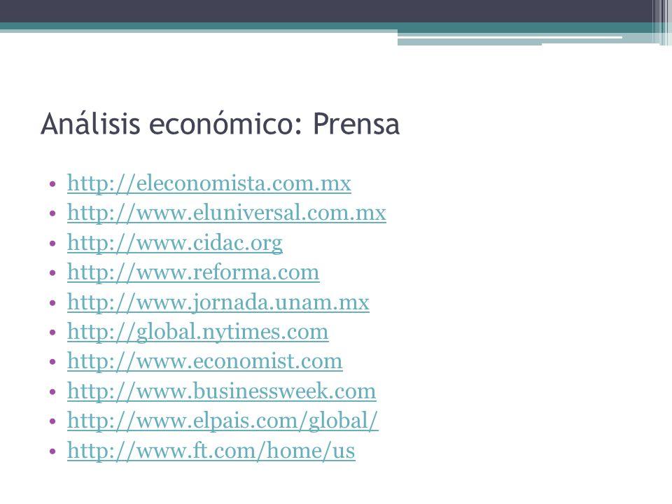 Análisis económico: Prensa http://www.ft.com/intl/global-economy http://www.guardian.co.uk/ http://www.lefigaro.fr/ http://www.time.com/time/ http://www.lemonde.fr/ http://www.parismatch.com/ http://www.washingtonpost.com/ http://www.clarin.com/ http://elcomercio.pe/ http://www.eluniversal.com/index.html