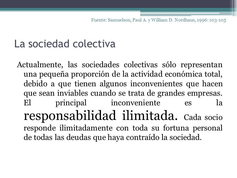 La sociedad colectiva Actualmente, las sociedades colectivas sólo representan una pequeña proporción de la actividad económica total, debido a que tie