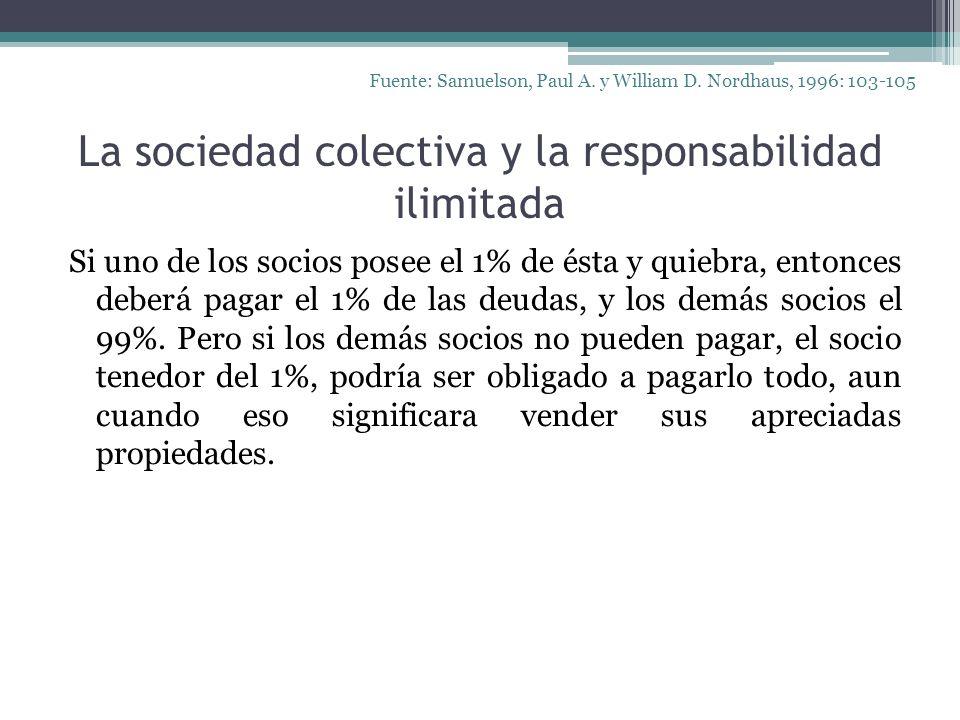 La sociedad colectiva y la responsabilidad ilimitada Si uno de los socios posee el 1% de ésta y quiebra, entonces deberá pagar el 1% de las deudas, y